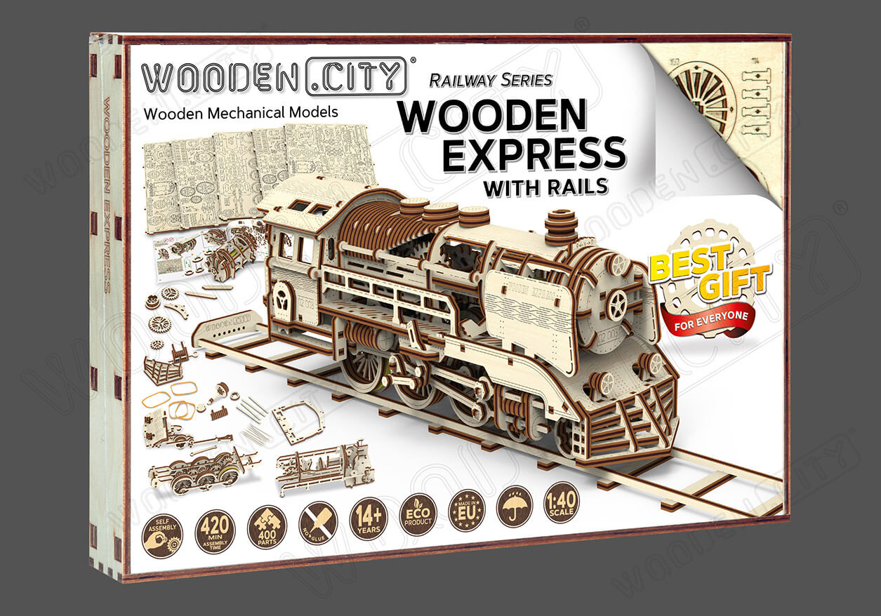 Pociąg Wooden Express Model + Tory Kolejowe 6